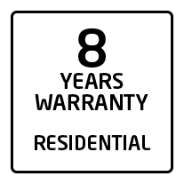 8 years residential warranty